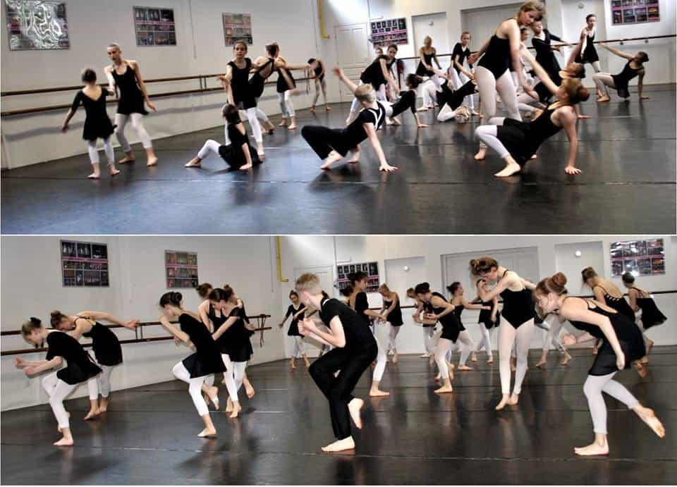 Zajęcia z tańca współczesnego prowadzone przez Andrzeja Morawca